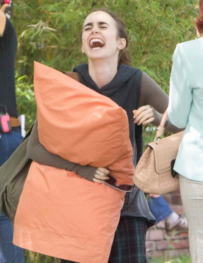 Lily Collins on Set of To The Bone in LA-1