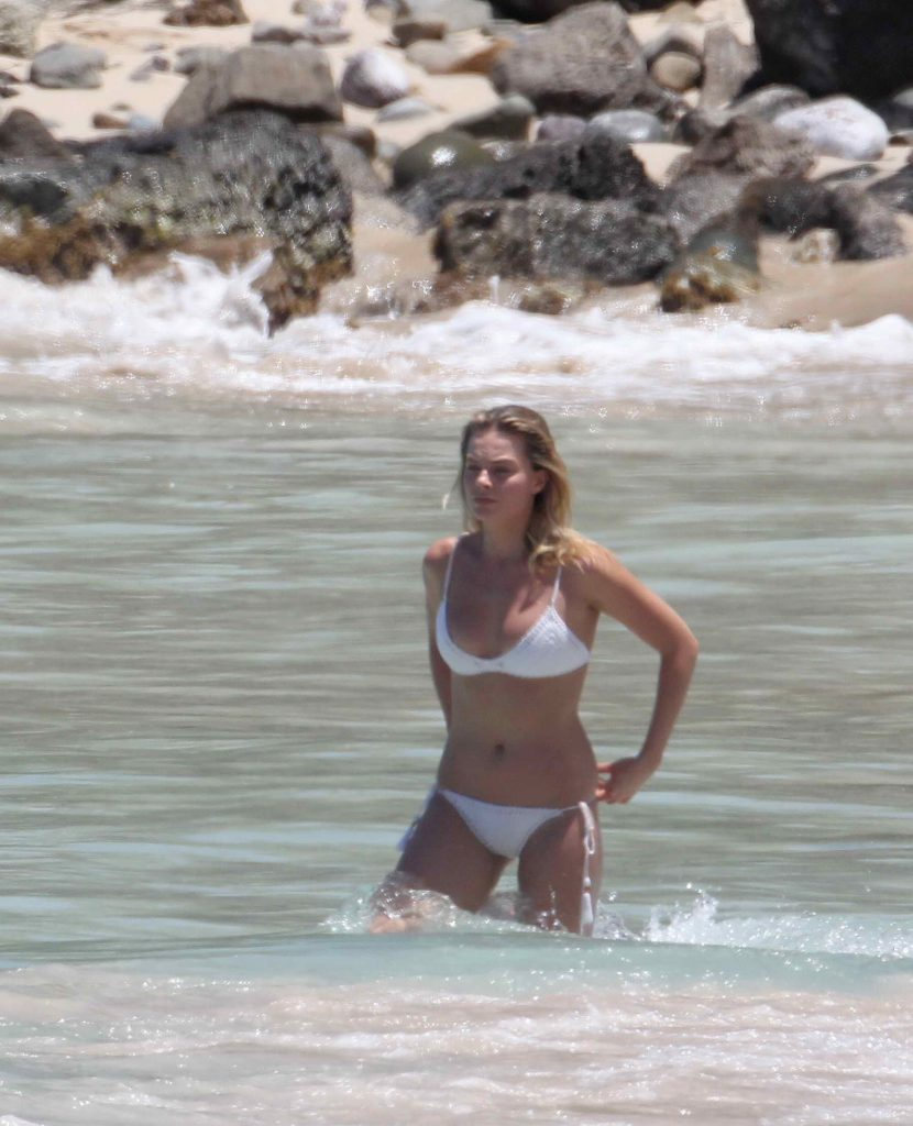 Margot Robbie in Bikini at the Beach in St. Barts-1