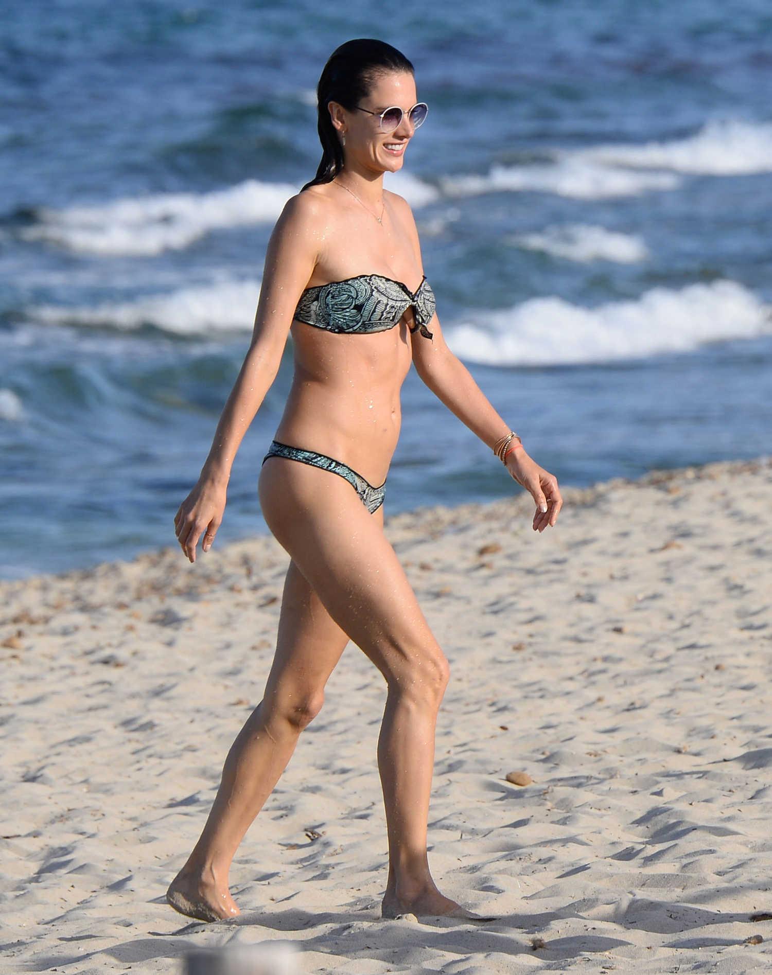 Alessandra Ambrosio Wearing a Bikini at the Beach in Ibiza ...