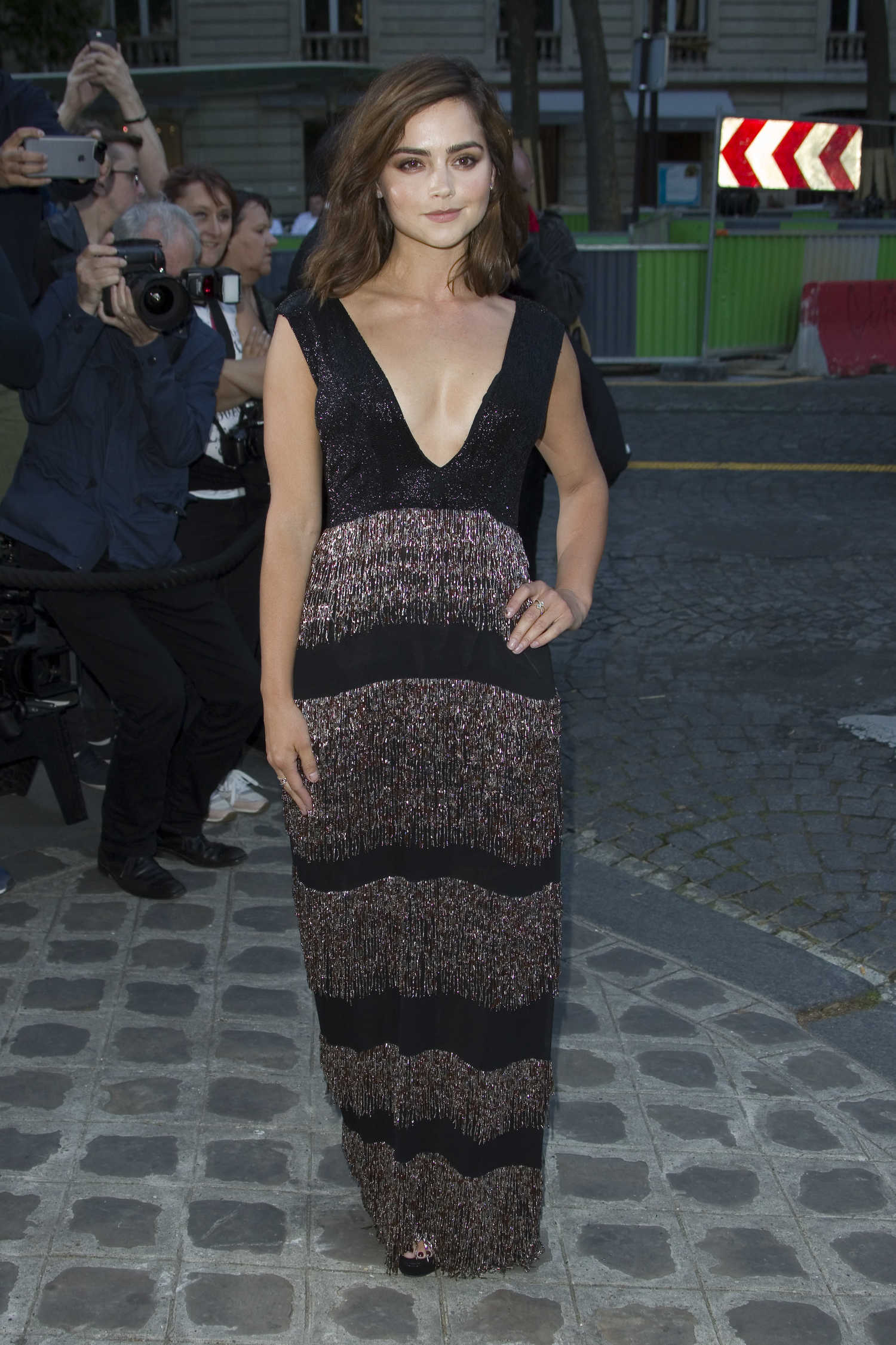 jenna coleman arrives at the vogue party in paris  u2013 celeb donut