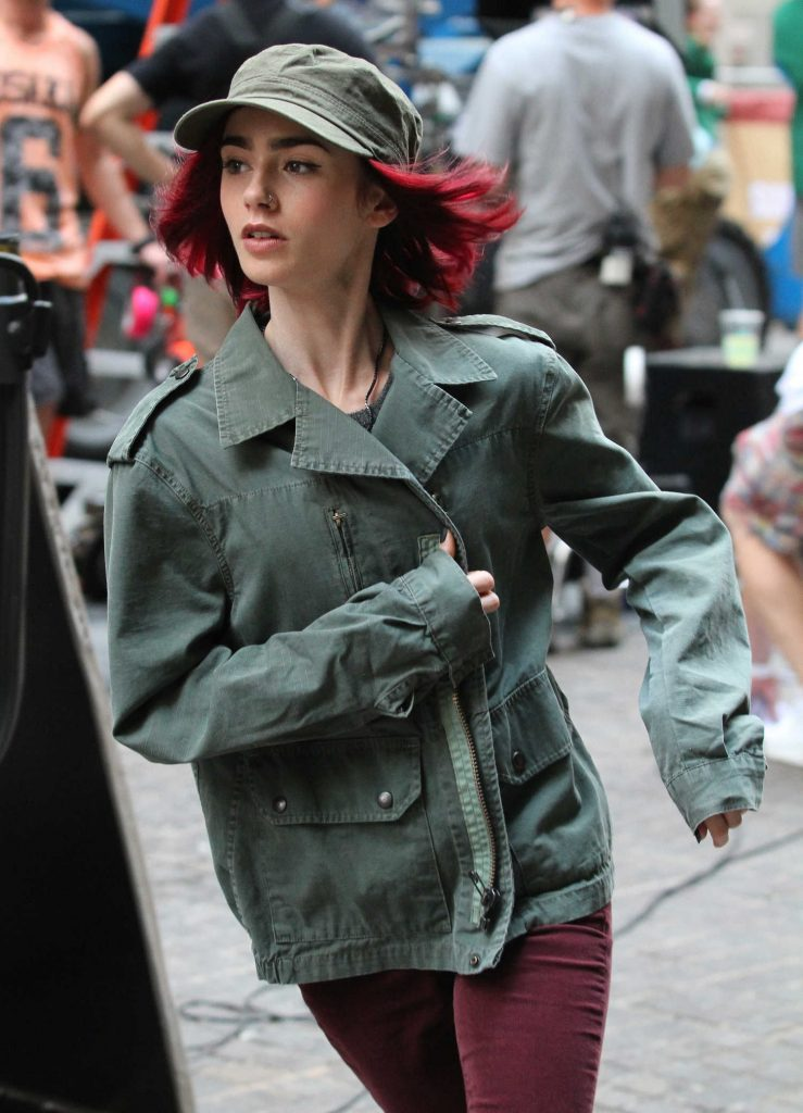 Lily Collins on the Set of Movie Okja in Manhattan, New York City-1
