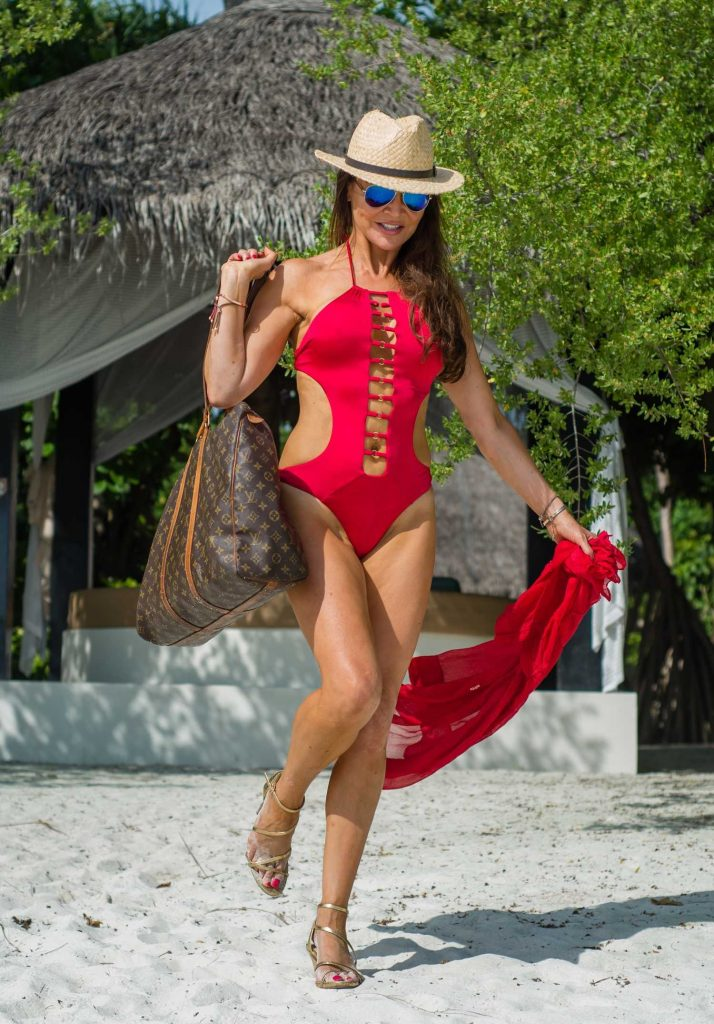 Lizzie Cundy in a Red Swimsuit at the Beach in the Maldives-3