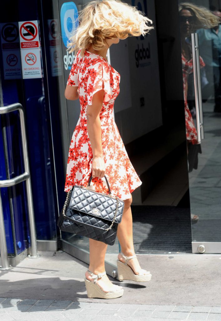 Myleene Klass Arrives at Global House Leicester Square in London-5