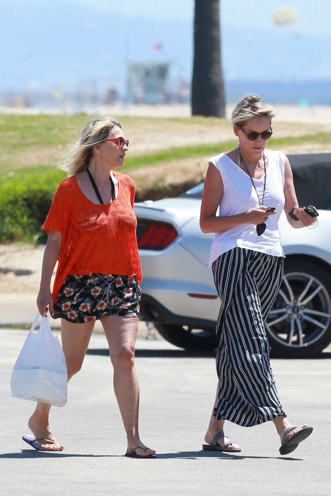 Sharon Stone Was Seen at the Beach Venice-5