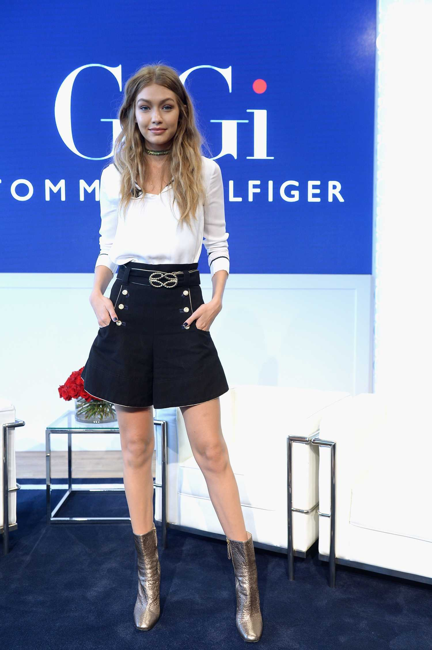 gigi hadid at the tommy x gigi collection press conference in nyc celeb donut. Black Bedroom Furniture Sets. Home Design Ideas