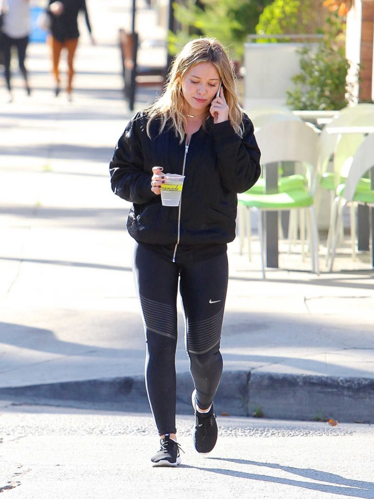 Hilary Duff Wearing a Black Bomber Jacket in Los Angeles-1