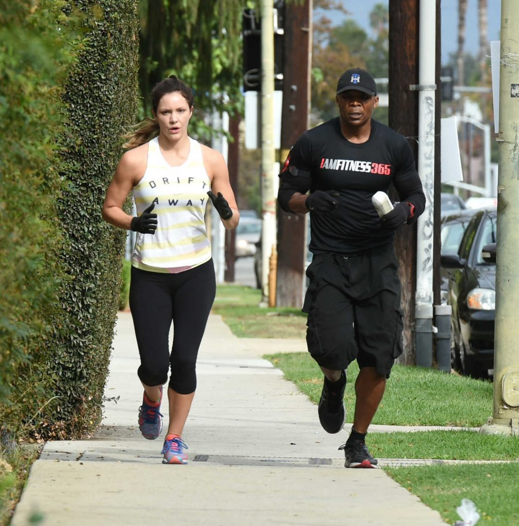 Katharine McPhee Goes on a Training Run With a Friend in Los Angeles 10/29/2016-2