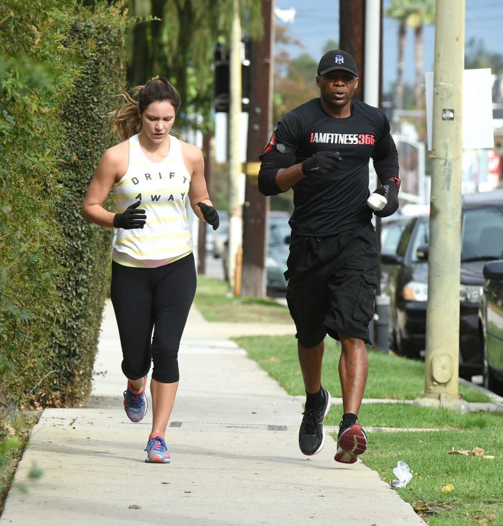Katharine McPhee Goes on a Training Run With a Friend in Los Angeles 10/29/2016-3