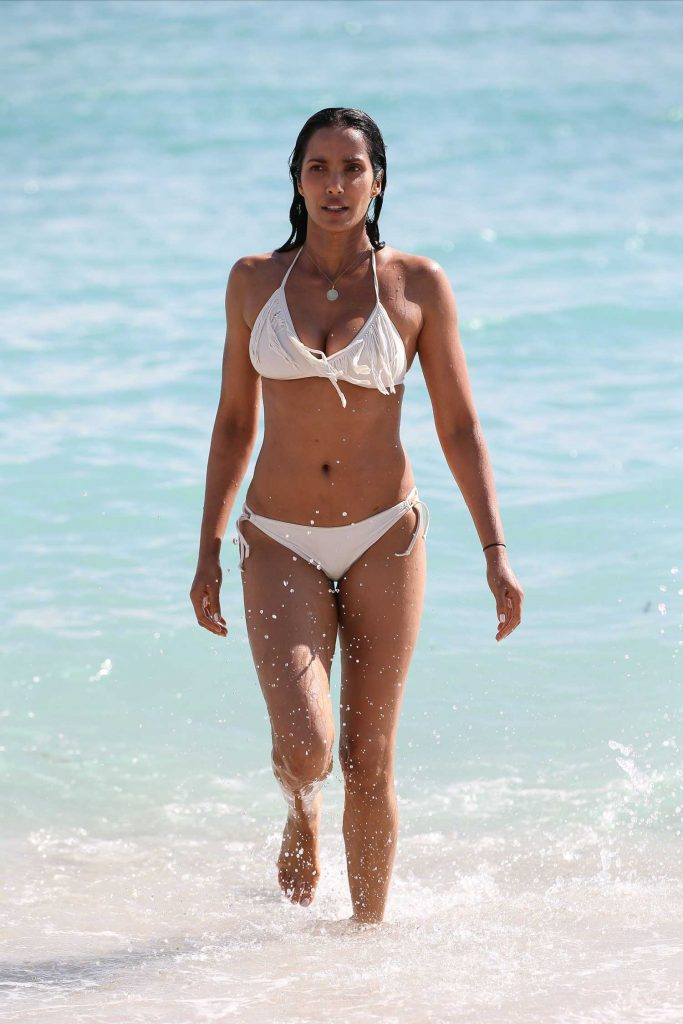Padma Lakshmi in a White Bikini at the Beach in Miami-1