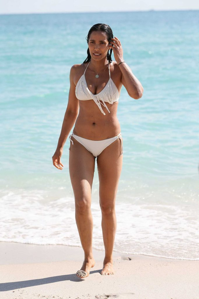 Padma Lakshmi in a White Bikini at the Beach in Miami-2