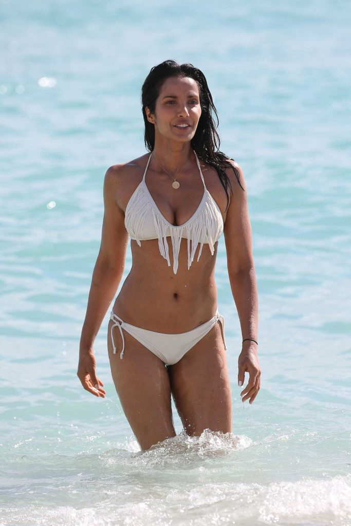 Padma Lakshmi in a White Bikini at the Beach in Miami-5