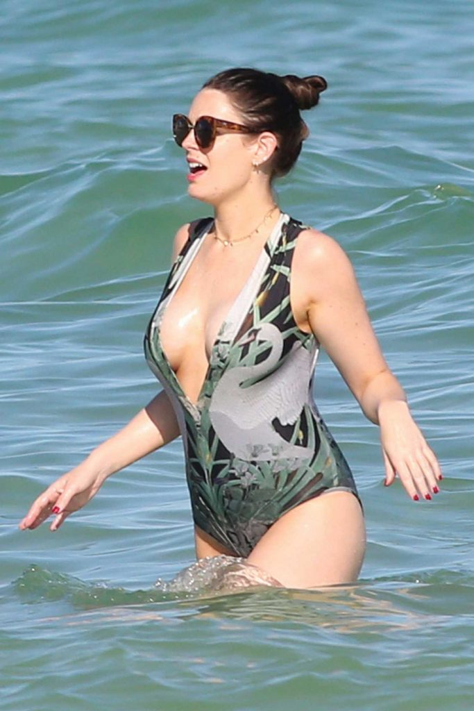 Susie Amy Wearing a Swimsuit at the Beach in Miami-1