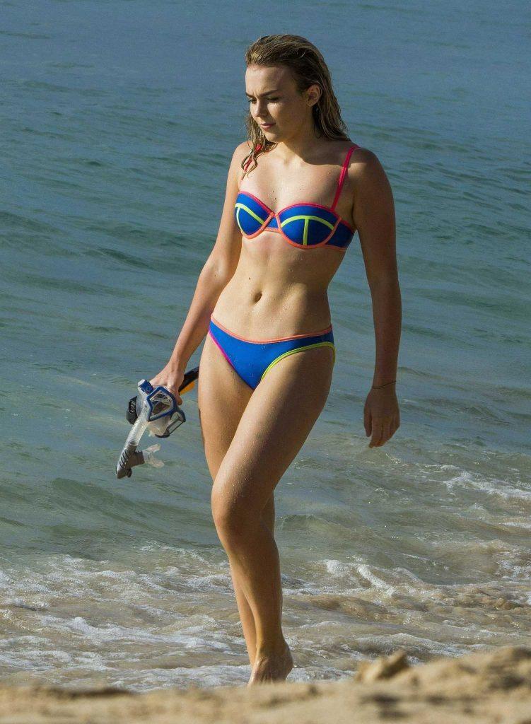 Tallia Storm in a Blue Bikini at the Beach in Barbados-1