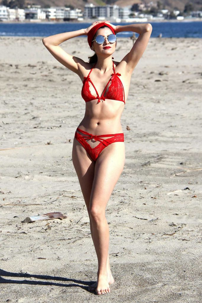 Blanca Blanco in a Red Bikini at the Beach in Malibu-1