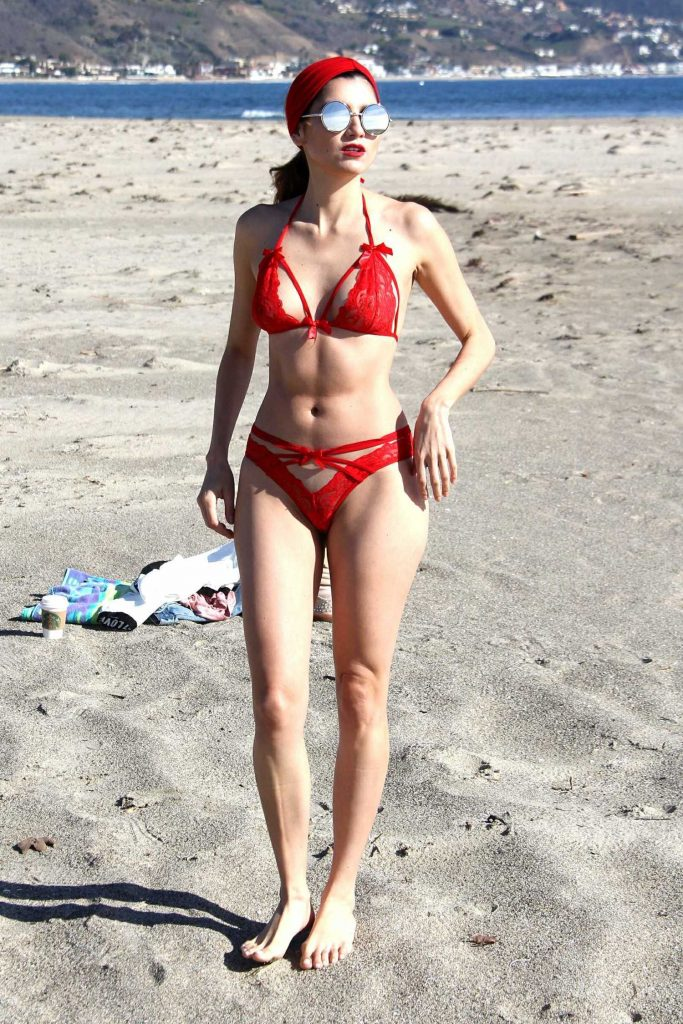 Blanca Blanco in a Red Bikini at the Beach in Malibu-2