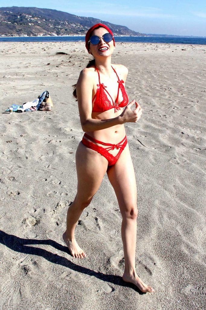 Blanca Blanco in a Red Bikini at the Beach in Malibu-4