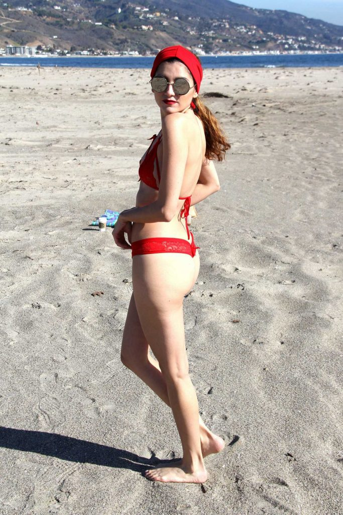 Blanca Blanco in a Red Bikini at the Beach in Malibu-5