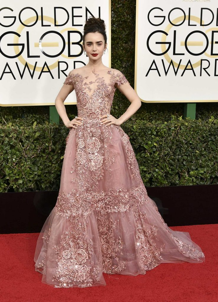 Lily Collins at the 74th Annual Golden Globe Awards in Beverly Hills-1