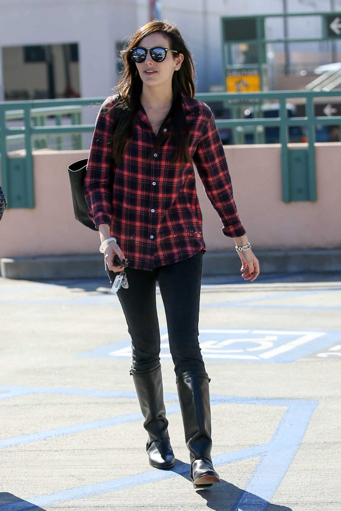Camilla Belle Was Siin in a Plaid Shirt in Beverly Hills-2
