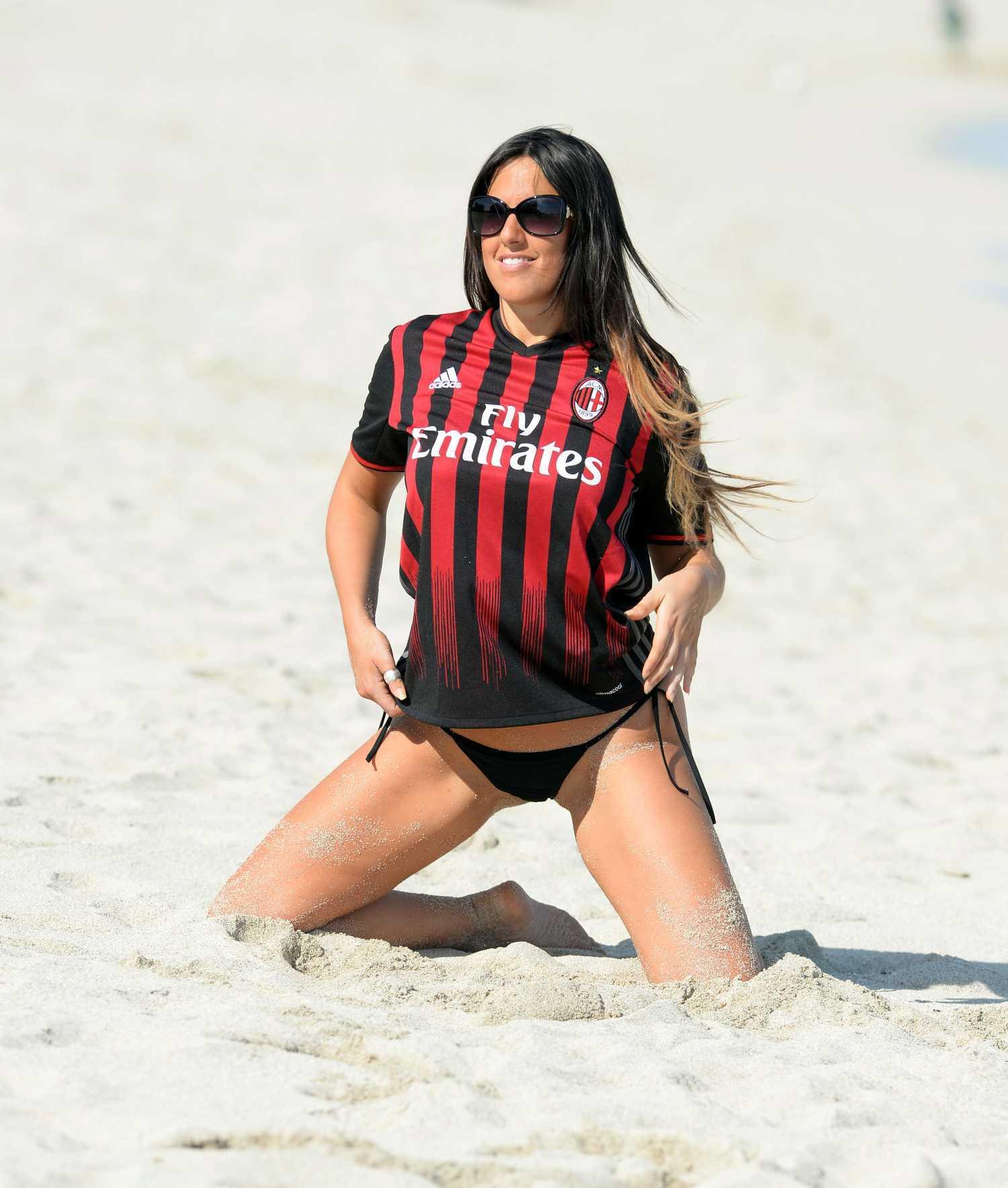 Claudia Romani Wearing Her AC Milan Jersey in Miami ...