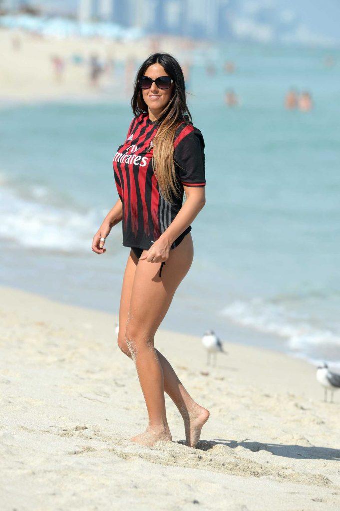 Claudia Romani Wearing Her AC Milan Jersey in Miami-5