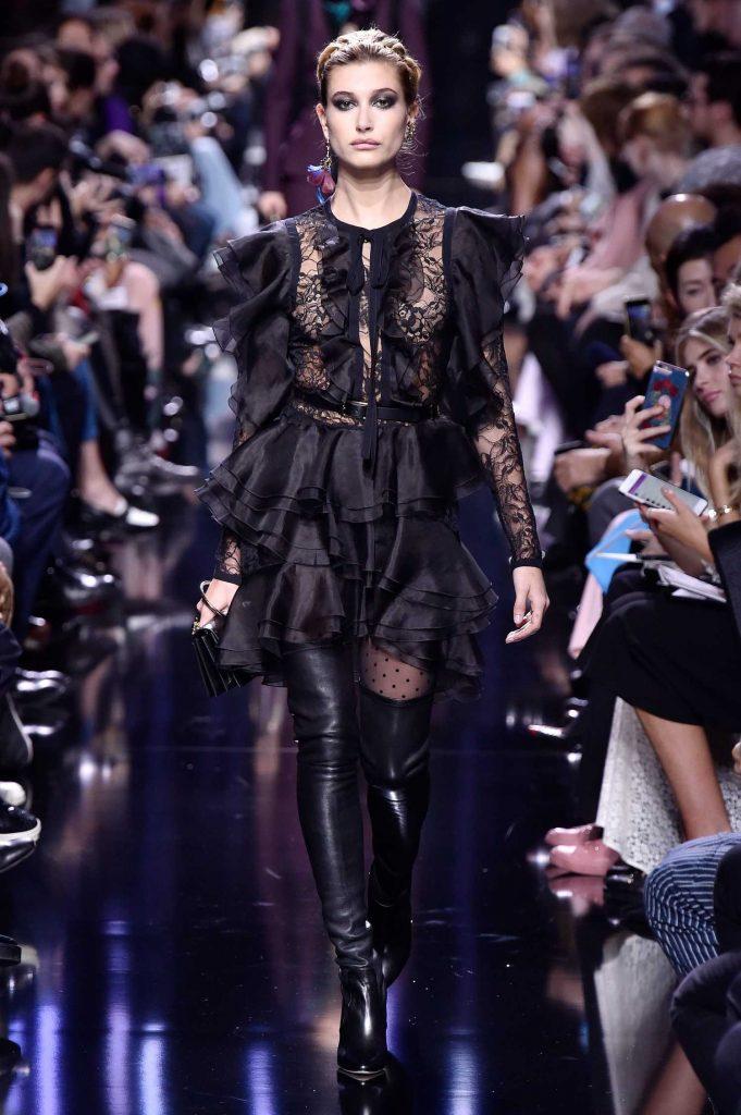 Hailey Baldwin at Elie Saab Fashion Show During the Paris Fashion Week-1