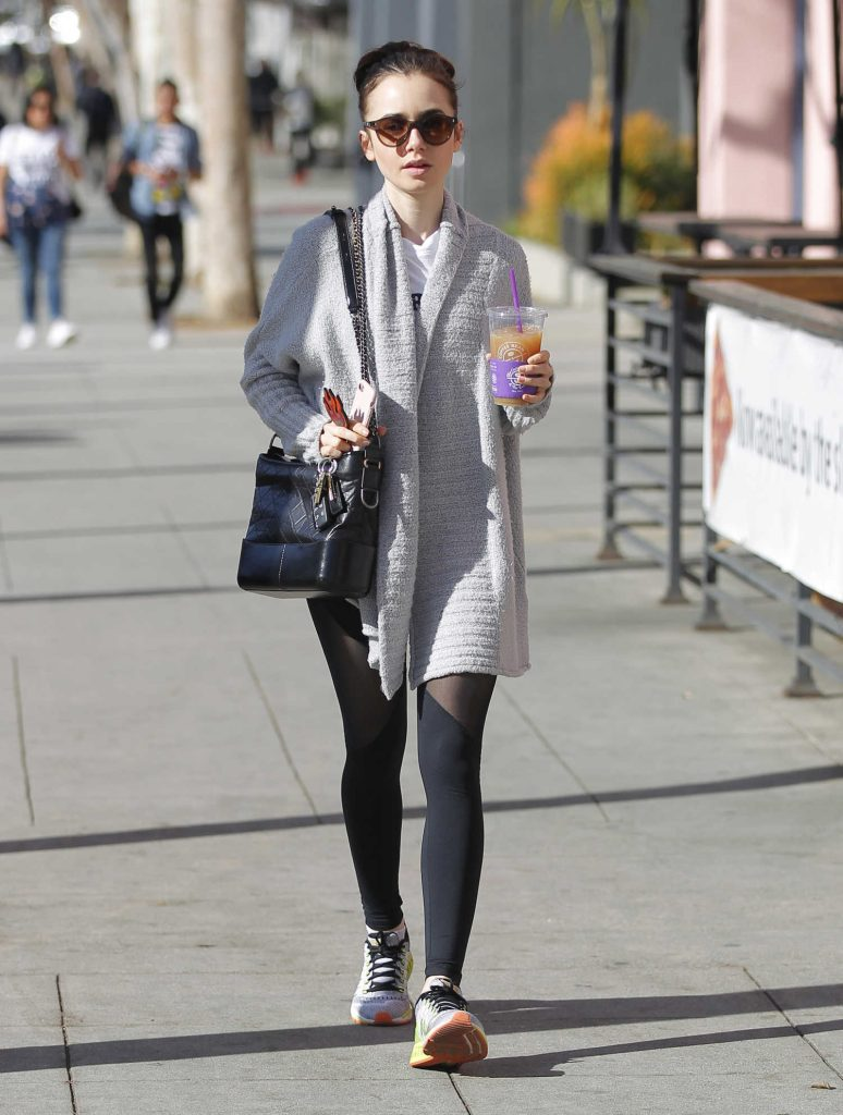 Lily Collins Grabs an Iced Tea Out and in LA-1