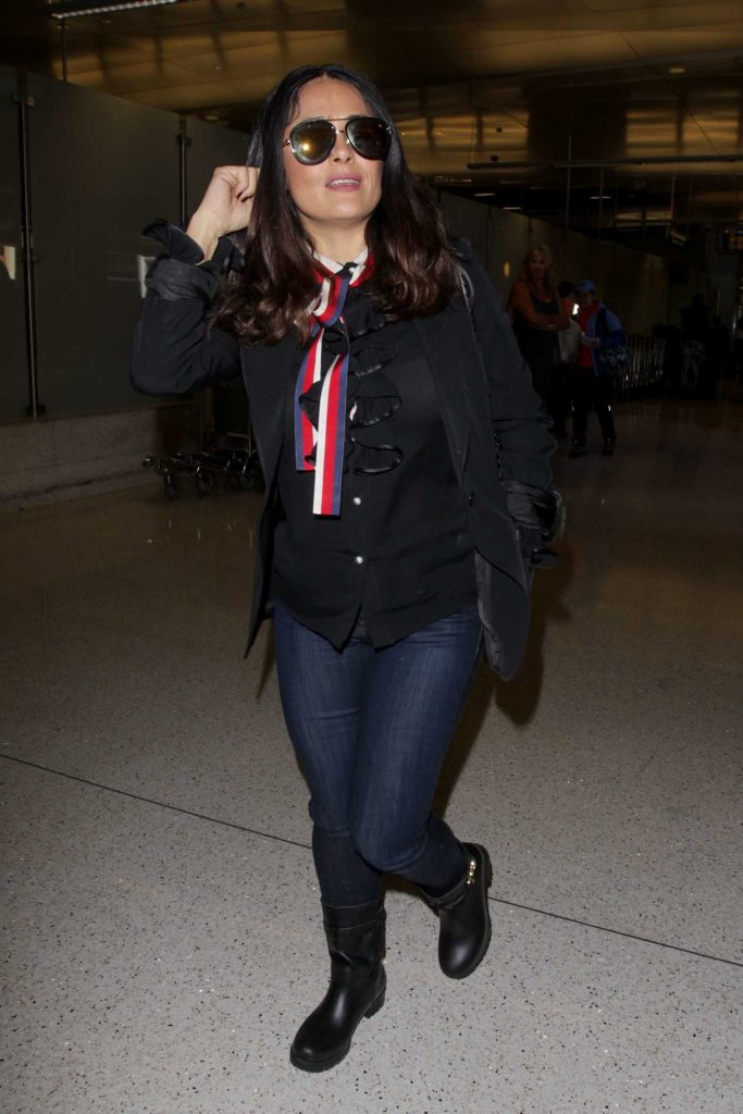 Salma Hayek Arrives at LAX Airport in Los Angeles-1