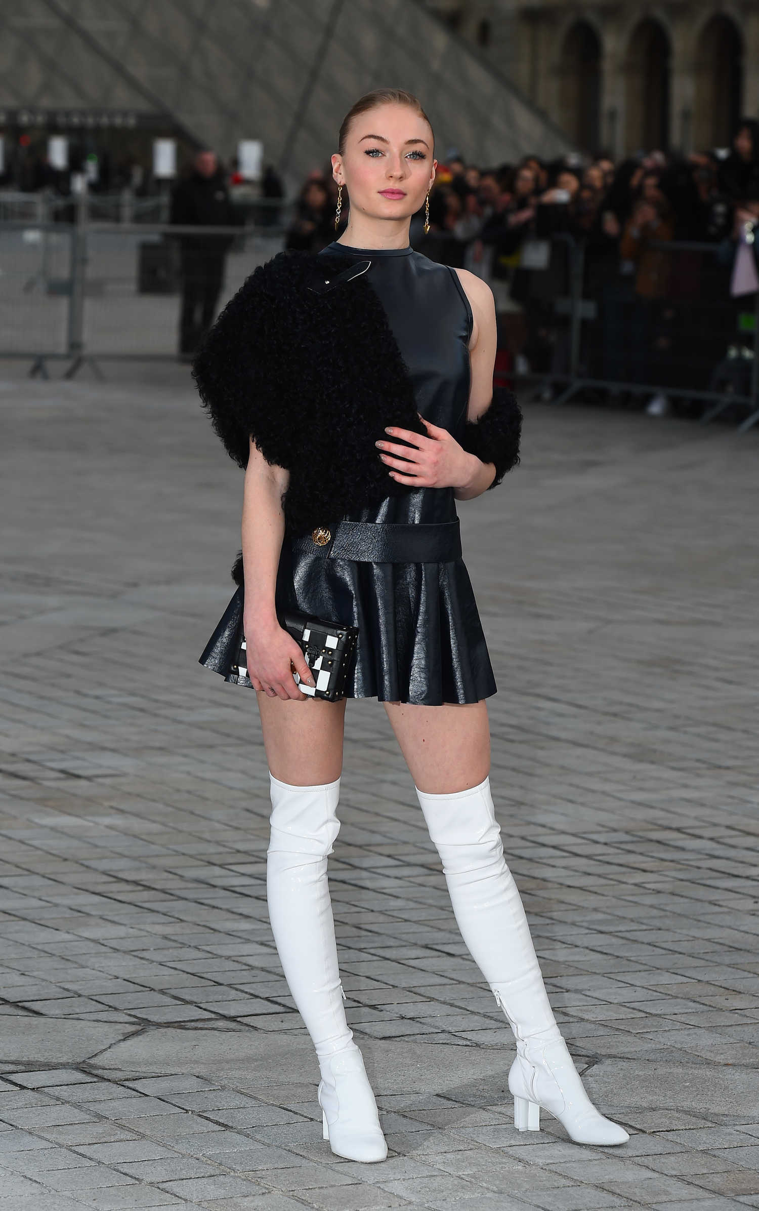 sophie turner at the louis vuitton show during the paris