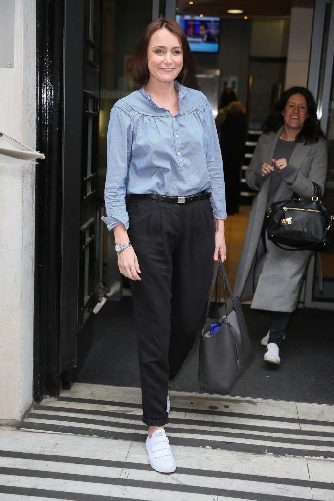 Keeley Hawes Leaves BBC Radio Two Studios in London-2