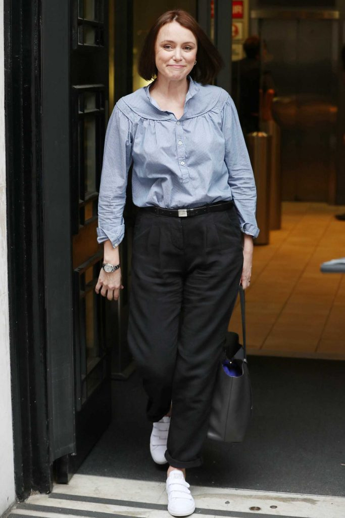 Keeley Hawes Leaves BBC Radio Two Studios in London-3