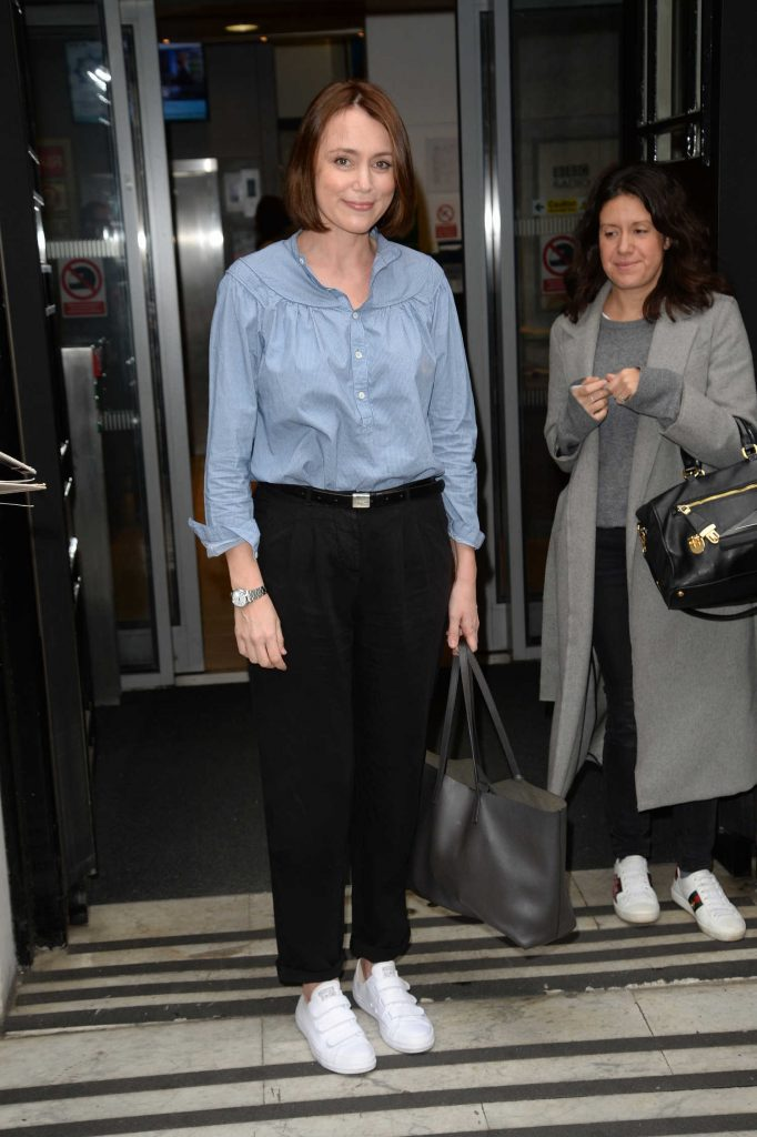 Keeley Hawes Leaves BBC Radio Two Studios in London-4