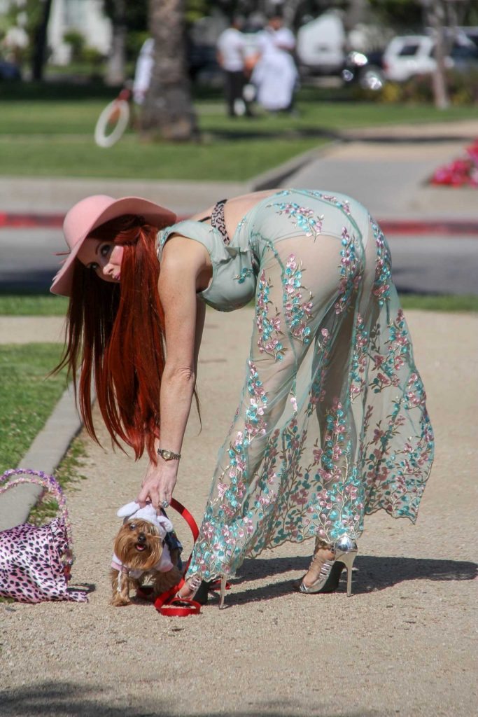Phoebe Price Takes Her Dog to the Bunny House at the Grove in Hollywood-3