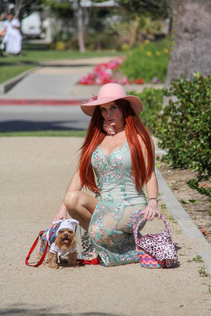 Phoebe Price Takes Her Dog to the Bunny House at the Grove in Hollywood-4