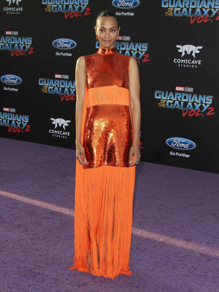Zoe Saldana at the Guardians of the Galaxy Vol 2 Los Angeles Premiere-1