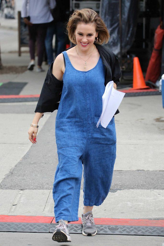 Alyssa Milano on the Set of Little Italy in Toronto-1