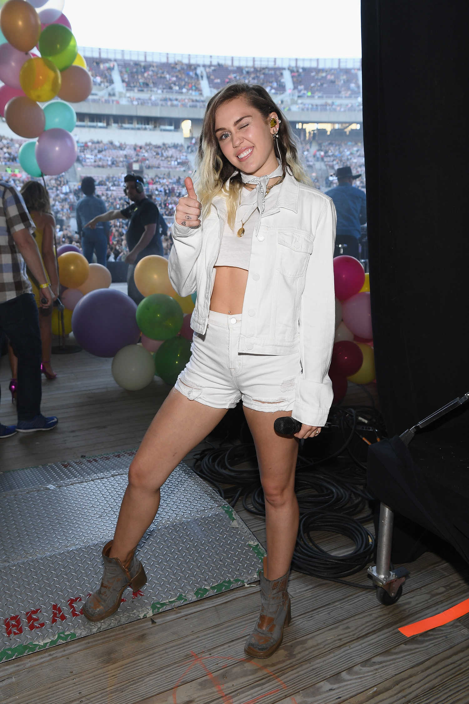 Miley Cyrus Performs At Jones Beach Theater In Long Island