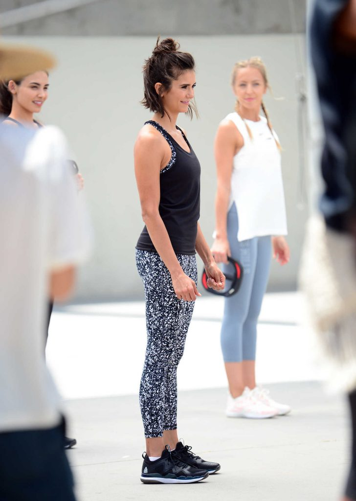 Nina Dobrev Shoots a Video for New Reebok Fitness Clothing Line in Venice-3