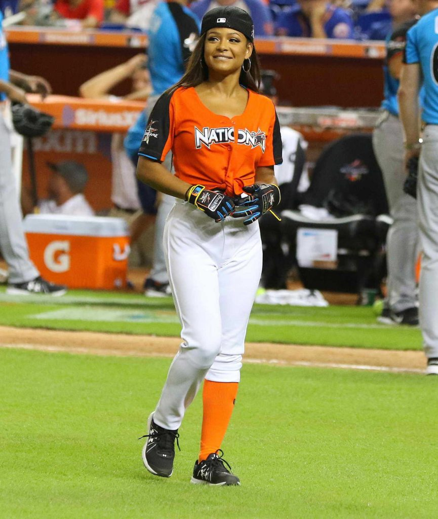 Christina Milian Attends the 2017 MLB All-Star Legends and Celebrity Softball at Marlins Park in Miami-2