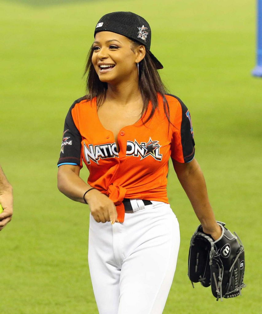 Christina Milian Attends the 2017 MLB All-Star Legends and Celebrity Softball at Marlins Park in Miami-4