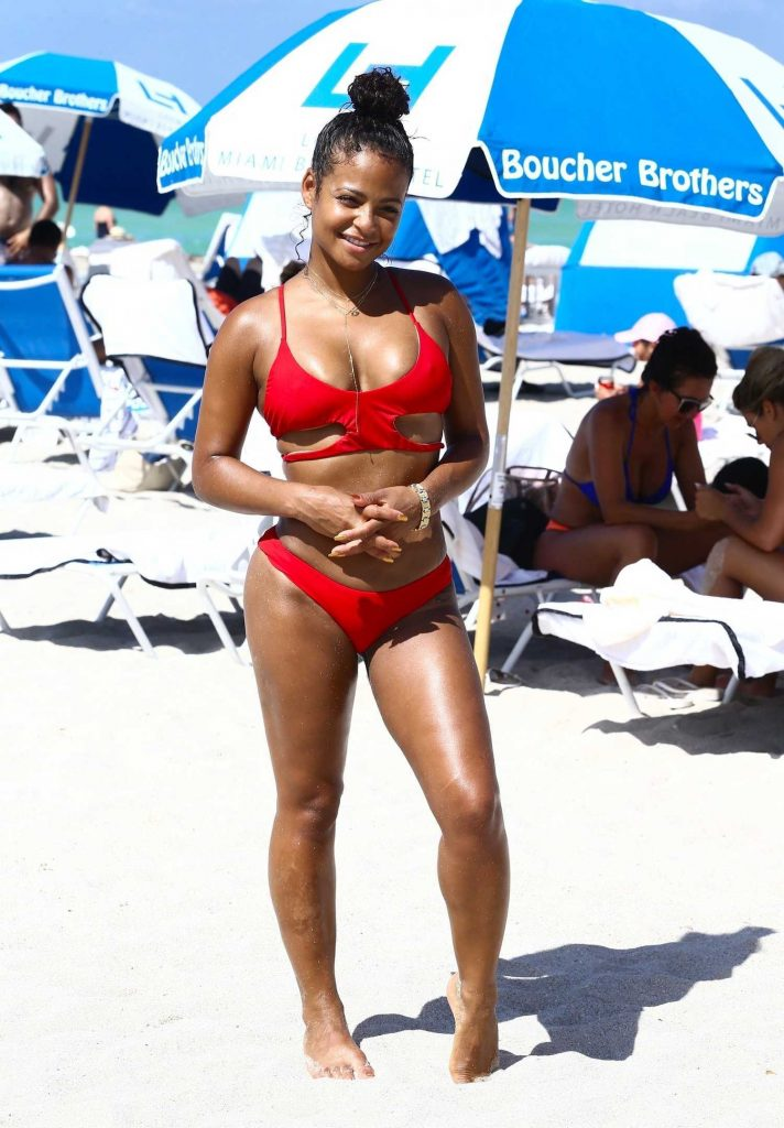 Christina Milian Wears a Red Bikini at the Beach in Miami-1