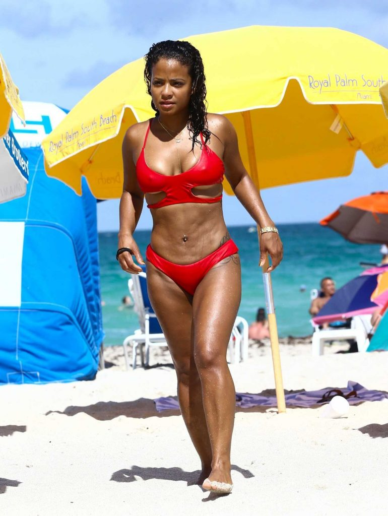 Christina Milian Wears a Red Bikini at the Beach in Miami-2