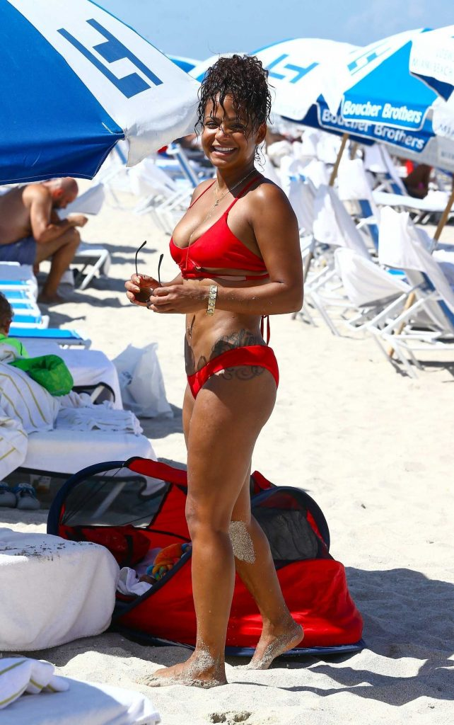 Christina Milian Wears a Red Bikini at the Beach in Miami-3