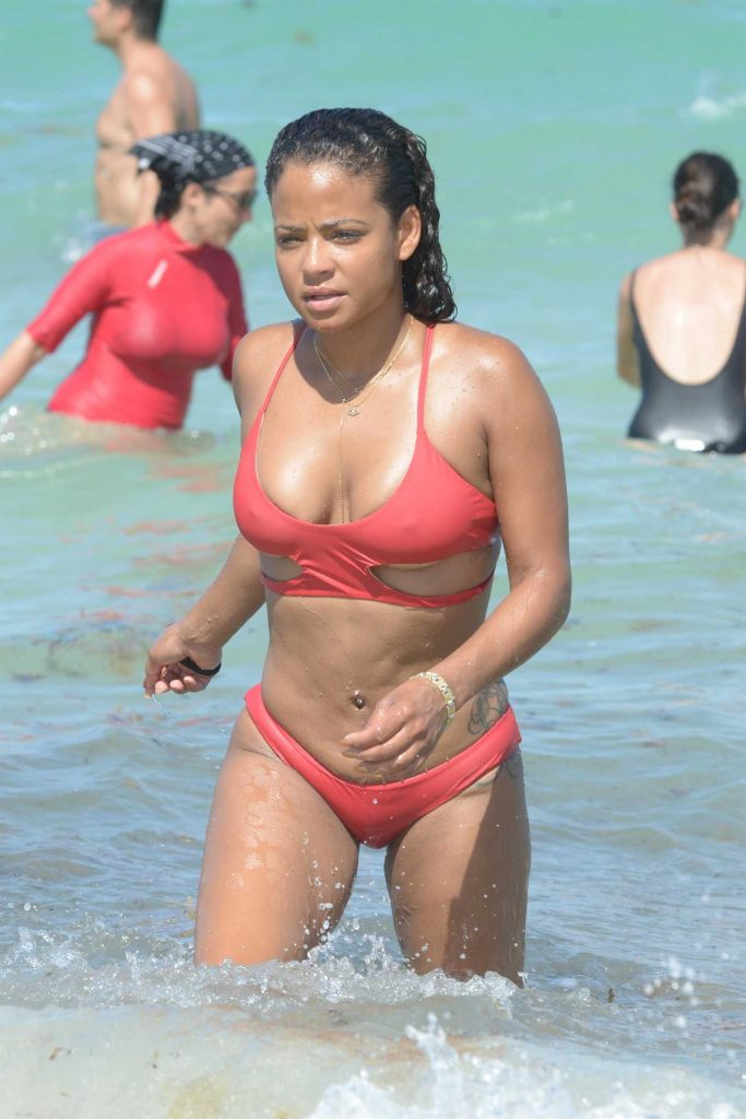 Christina Milian Wears a Red Bikini at the Beach in Miami-5