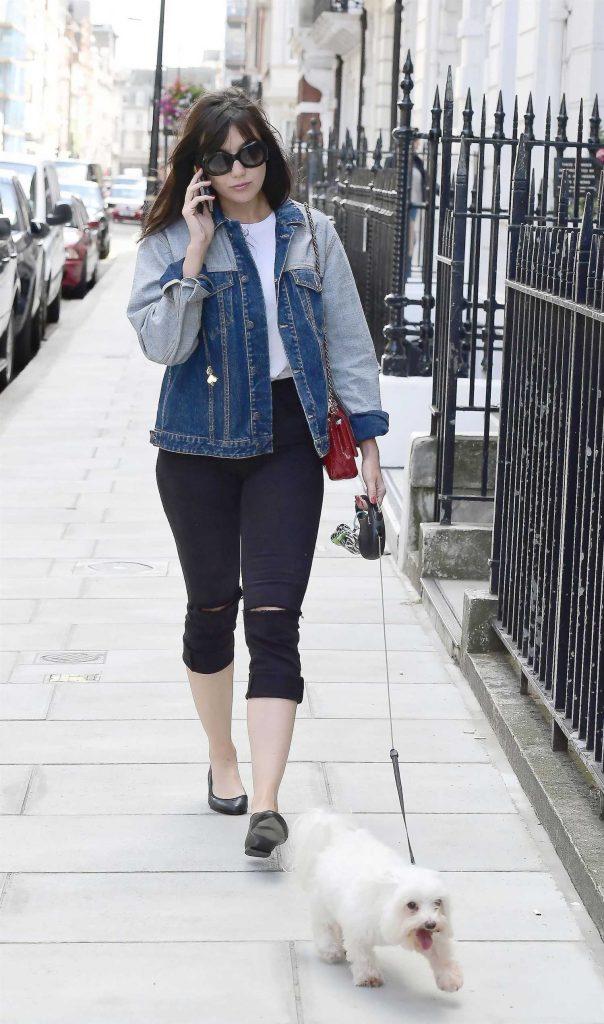 Daisy Lowe Walks Her Dog in London-1