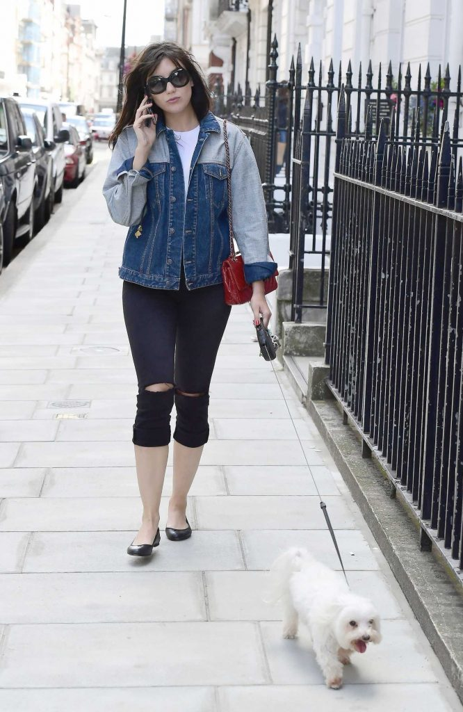 Daisy Lowe Walks Her Dog in London-2