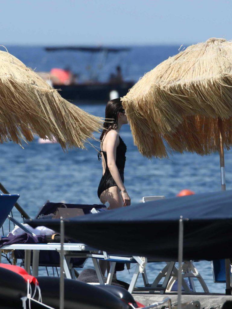 Lily Collins Was Spotted at the Beach in Ischia-4