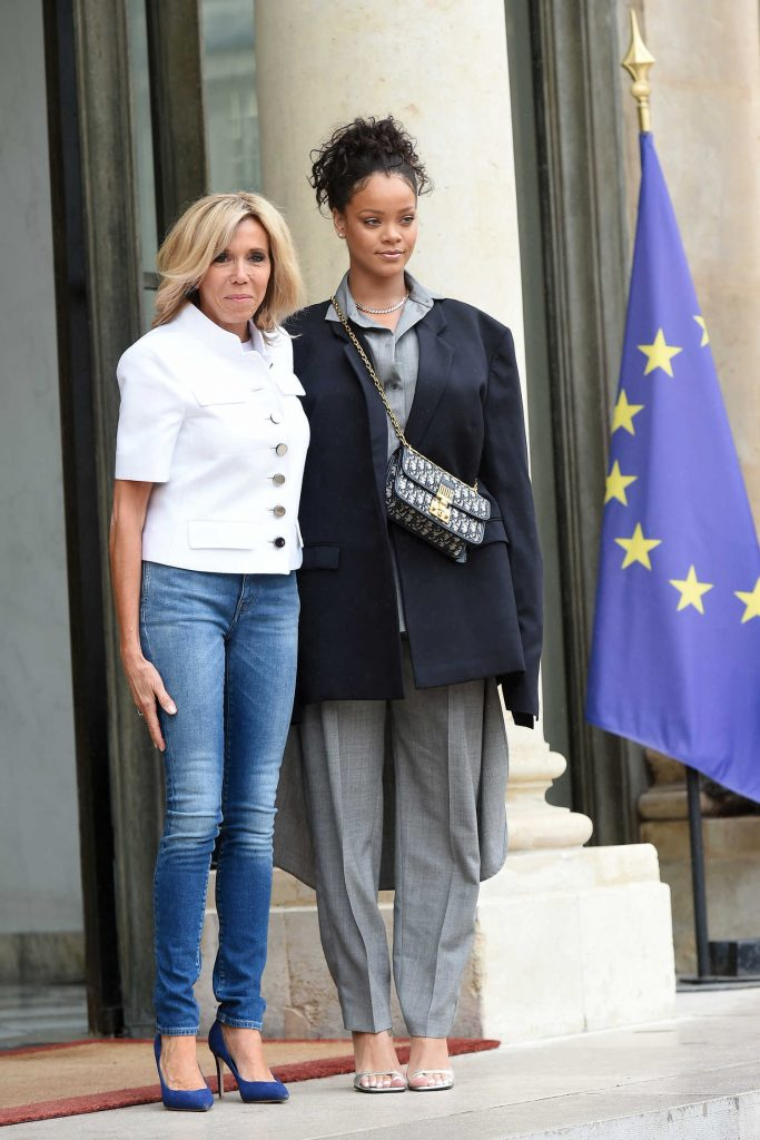 Rihanna is Welcomed by Brigitte Macron at the Elysee Palace in Paris-1