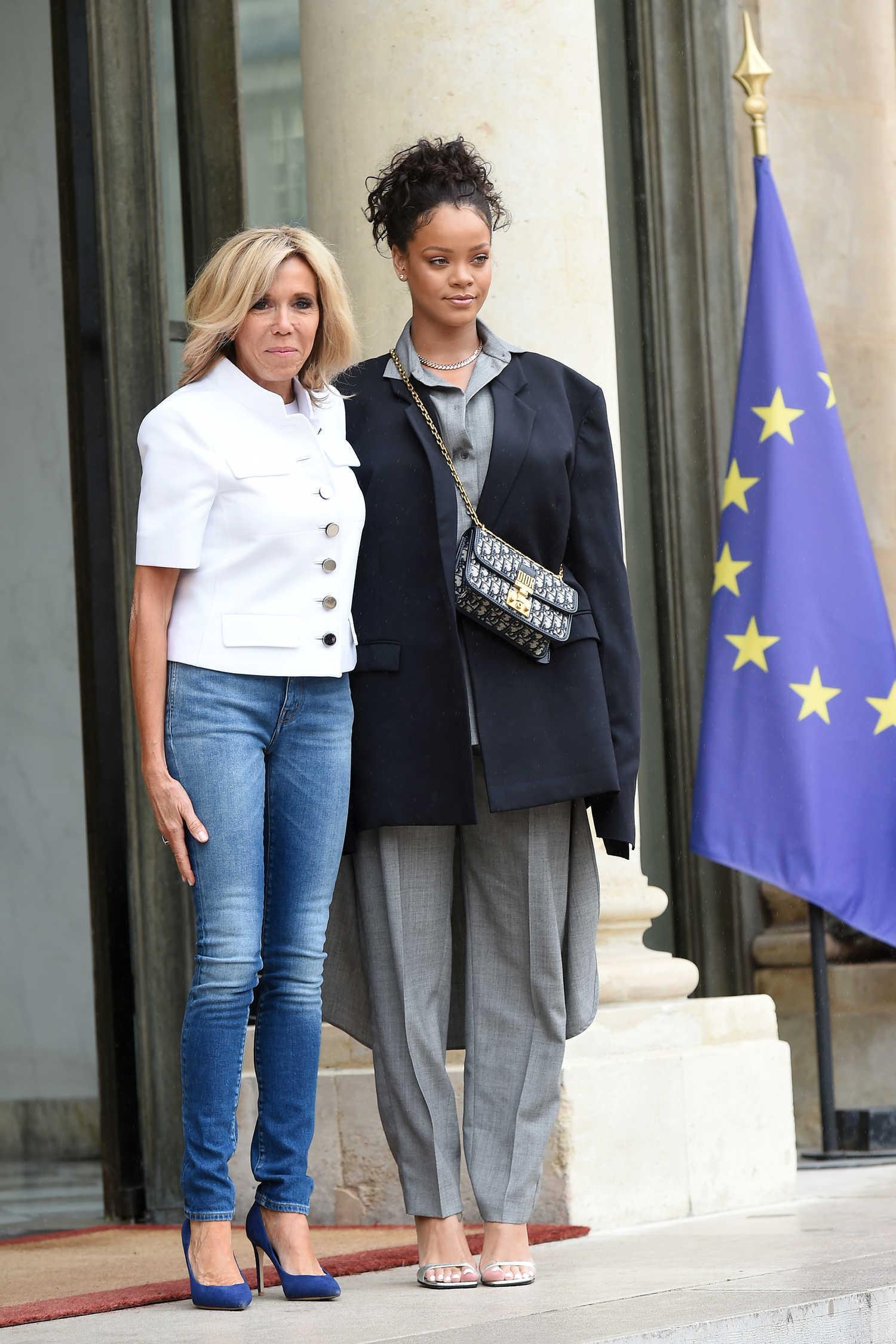 Rihanna Is Welcomed By Brigitte Macron At The Elysee