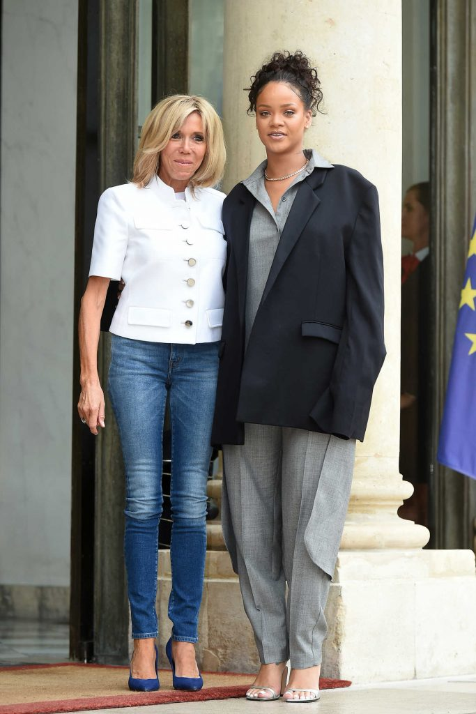 Rihanna is Welcomed by Brigitte Macron at the Elysee Palace in Paris-2